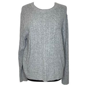 J Crew Cable Knit Wool Angora Cashmere Sweater